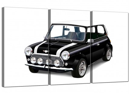 Modern Black White Mini Cooper Classic Car Canvas - 3 Panel - 125cm - 3095