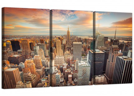 Modern New York Skyline Sunset Manhattan Cityscape Canvas - 3 Set- 125cm - 3202