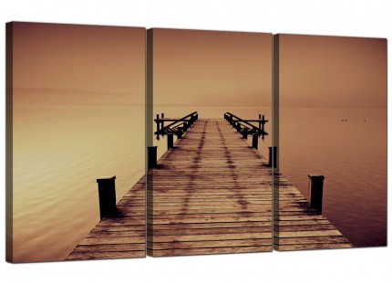 Modern Brown Jetty Lake District Pier Landscape Canvas - Set of 3 - 125cm - 3045