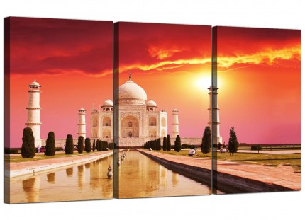 Modern Taj Mahal Sunset Landscape Canvas - Set of 3 - 125cm - 3193