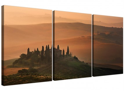 Tuscany Vineyard - Italian Canvas Prints - Brown 3 Panel for your Bedroom