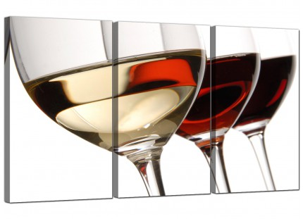 Modern Red White Wine Glasses Kitchen Canvas - 3 Piece - 125cm - 3067
