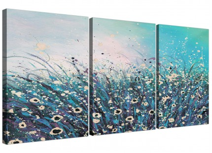 Modern Teal Coloured Flowers Abstract Floral Canvas - 3 Part - 125cm - 3260