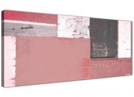 Blush Pink Grey Abstract Painting Canvas Wall Art Print - Modern 120cm Wide - 1334
