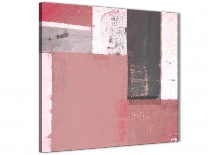 Blush Pink Grey Abstract Painting Canvas Wall Art Print - Modern 49cm Square - 1s334s