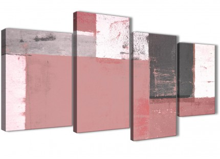 Large Blush Pink Grey Abstract Painting Canvas Wall Art Print - Split 4 Panel - 130cm Wide - 4334