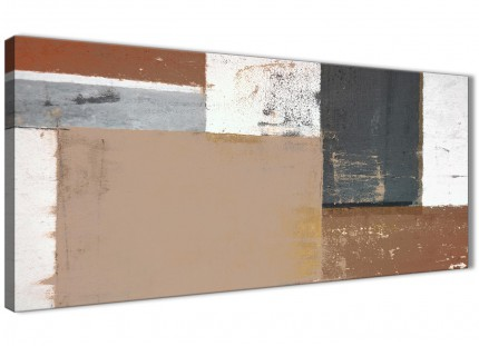 Brown Beige Grey Abstract Painting Canvas Wall Art Print - Modern 120cm Wide - 1335