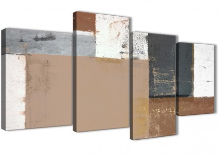 Large Brown Beige Grey Abstract Painting Canvas Wall Art Print - Multi 4 Set - 130cm Wide - 4335