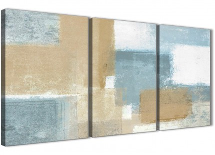 Blue Beige Brown Abstract Painting Canvas Wall Art Print - Multi 3 Part - 125cm Wide - 3350
