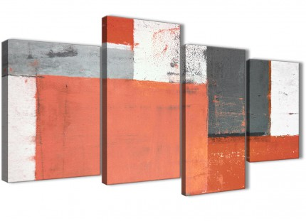 Large Coral Grey Abstract Painting Canvas Wall Art Pictures - Multi 4 Part - 130cm Wide- 4336