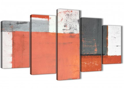Extra Large Coral Grey Abstract Painting Canvas Wall Art Pictures - Multi 5 Set - 160cm Wide - 5336