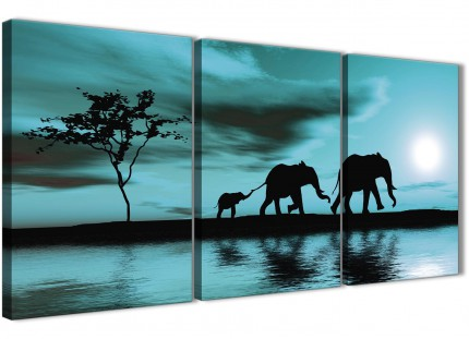 Teal African Sunset Elephants Canvas Wall Art Print - Split 3 Set - 125cm Wide - 3362