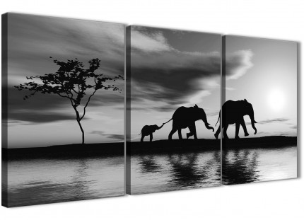 Black White African Sunset Elephants Canvas Wall Art Print - Split 3 Piece - 125cm Wide - 3363