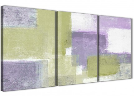 Lime Green Purple Abstract Painting Canvas Wall Art Print - Split Set of 3 - 125cm Wide - 3364