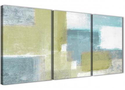 Lime Green Teal Abstract Painting Canvas Wall Art Print - Split 3 Part - 125cm Wide - 3365
