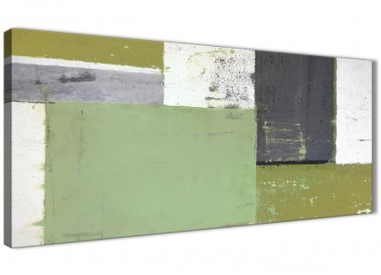Green Grey Abstract Painting Canvas Wall Art Pictures - Modern 120cm Wide - 1337