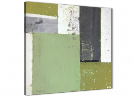 Green Grey Abstract Painting Canvas Wall Art Pictures - Modern 79cm Square - 1s337l
