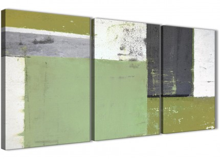 Green Grey Abstract Painting Canvas Wall Art Pictures - Multi Set of 3 - 125cm Wide - 3337