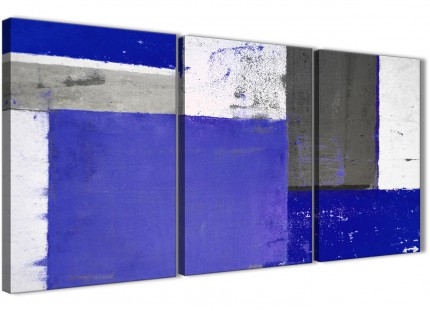 Indigo Navy Blue Abstract Painting Canvas Wall Art Print - Split 3 Set - 125cm Wide - 3338