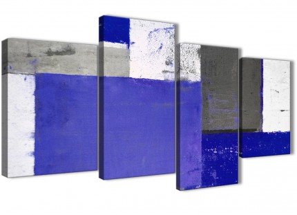 Large Indigo Navy Blue Abstract Painting Canvas Wall Art Print - Split 4 Piece - 130cm Wide- 4338