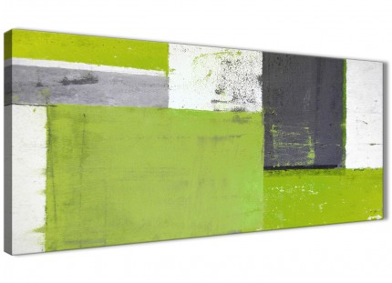 Lime Green Grey Abstract Painting Canvas Wall Art Print - Modern 120cm Wide - 1339