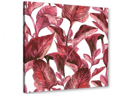 Dark Burgundy Red White Tropical Leaves Canvas Wall Art - Modern 79cm Square - 1s321l