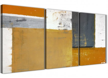 Orange Grey Abstract Painting Canvas Wall Art Print - Multi Set of 3 - 125cm Wide - 3341
