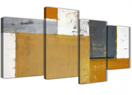 Large Orange Grey Abstract Painting Canvas Wall Art Print - Multi 4 Piece - 130cm Wide - 4341