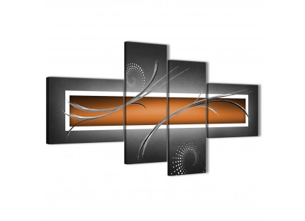 Orange Grey White Modern Abstract Canvas Wall Art