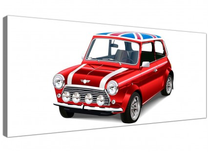 Mini Cooper Union Jack Canvas Modern 120cm Wide - 1277