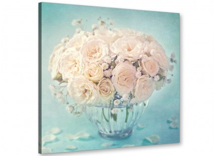 Duck Egg Blue & White Roses Flowers Floral Shabby Chic Floral Canvas Modern 64cm Square - 1s286m