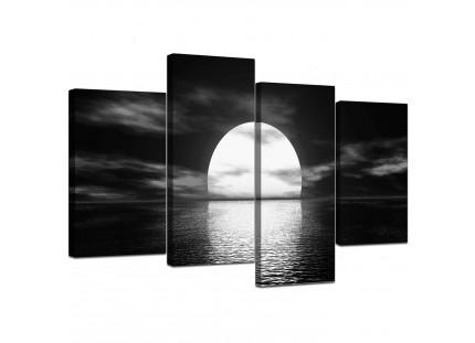 Modern Black White Sea Sunset Ocean Landscape Canvas