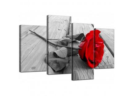 Red Rose Grey Black White Flower Floral Modern Canvas Art