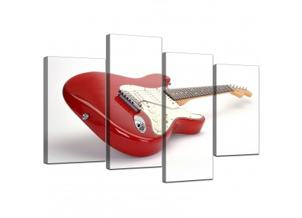 Red Guitar Canvas Wall Art