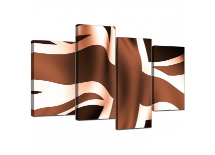 Brown and Cream Union Jack Flag Abstract Modern Canvas Art