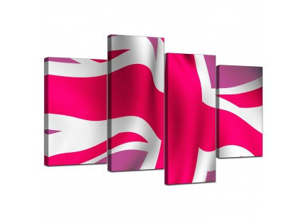 Pink White Union Jack Flag Abstract Canvas