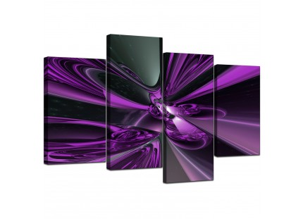 Purple and Black Cyclone Abstract Canvas