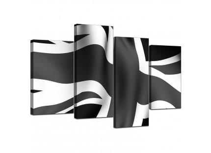 Black White Grey Union Jack Flag Abstract Modern Canvas Art