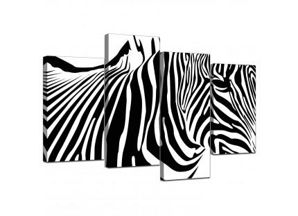 Black White Abstract Zebra Stripes Canvas