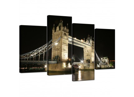 Black and White Tower Bridge London Cityscape Canvas
