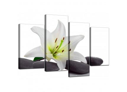 Modern Black White Grey Lily Flower Stones Floral Canvas