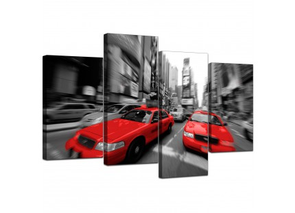 Red Black White Grey New York Taxi Cab City Canvas
