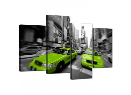 Modern Lime Green Grey New York Taxi Cab Cityscape Canvas