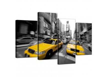 Black White Yellow Grey New York Taxi City Canvas