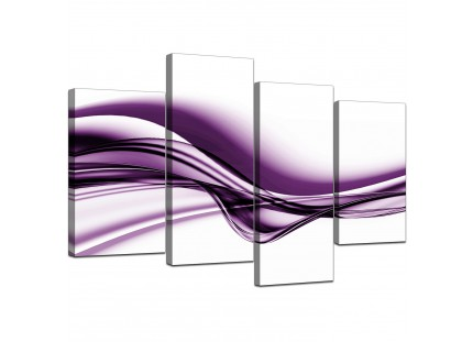 Modern Purple and White Wave Abstract Canvas
