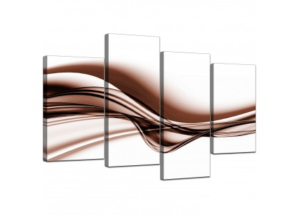 Brown and White Wave Abstract Canvas