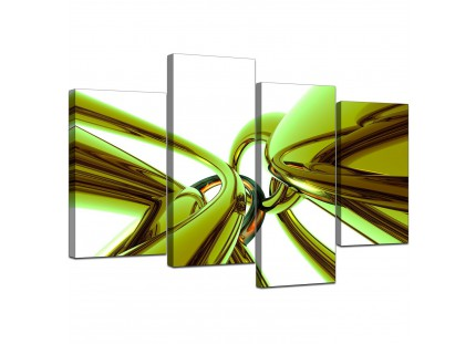 Modern Lime Green and White Neon Abstract Canvas