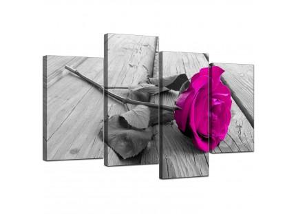 Pink Rose Grey Black White Flower Floral Canvas