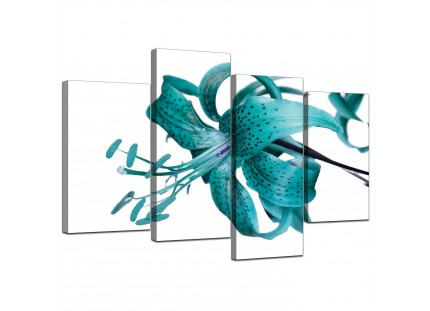 Teal Tiger Lily Flower on White Floral Canvas