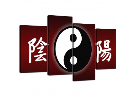 Oriental Yin Yang Symbol Red Black Abstract Canvas